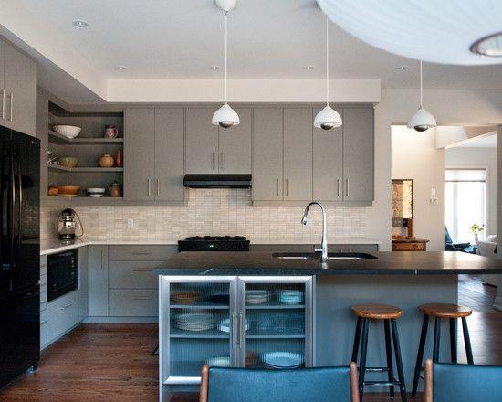 Contemporary Black Kitchen Appliances With Grey Kitchen