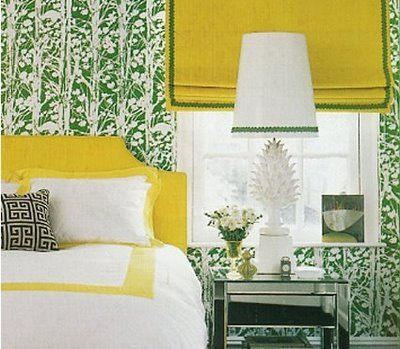 Green and Yellow and happy all over! // *~* This is a private residence designed by Jonathan Adler. I know I already have it pinned, but I LOVE it! My playroom inspiration! ... now if I could just get rid of that red couch. :|
