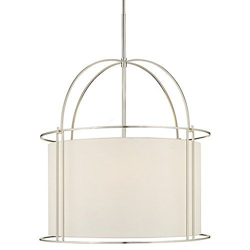 The Capitol Wide Pendant by Visual Comfort is a soft, seamless interpretation of classic lantern design. Its traditional hardware has been replaced with an open metal frame and a rounded Silk shade, which blend beautifully in the fixture's warm, ambient light. Ideal over entryways, dining tables, and open living spaces.