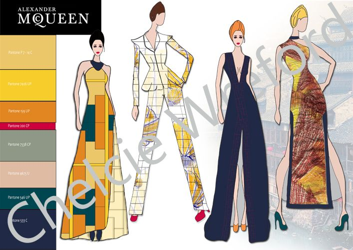 This is the final line up front views of the collection I have designed and created using Photoshop and Illustrator inspired by the Mcqueen Label. The designed are inspired by the forecast trend 'Culture' looking specifically at the Chinese Culture for inspiration with fashion and textile Design.
