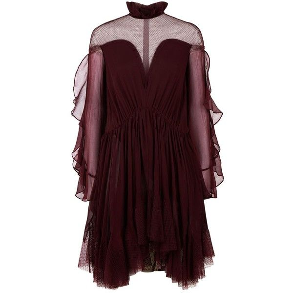 Jonathan Simkhai Silk Frilled Victoriana Neck Dress ($1,125) ❤ liked on Polyvore featuring dresses, ruched dress, v-neck dresses, asymmetrical dresses, v neck dress and v neckline dress