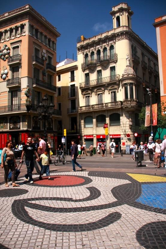 Joan Miró mosaic, Las Ramblas, Barcelona, Spain