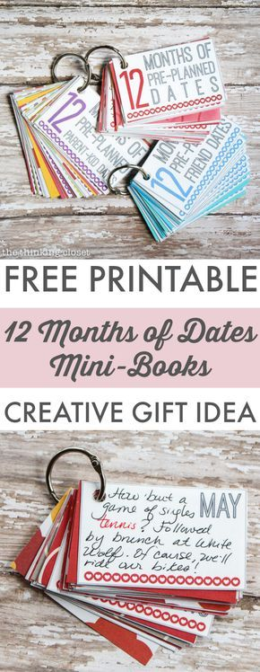 12 Months of Pre-Planned Dates Mini-Book | Such a creative and meaningful gift idea for the loved ones in your life. The FREE Printable Pack also comes with everything you need to create mini-books for Parent-Kid Dates, Friend Dates, and wedding gifts! So many gifts in one!