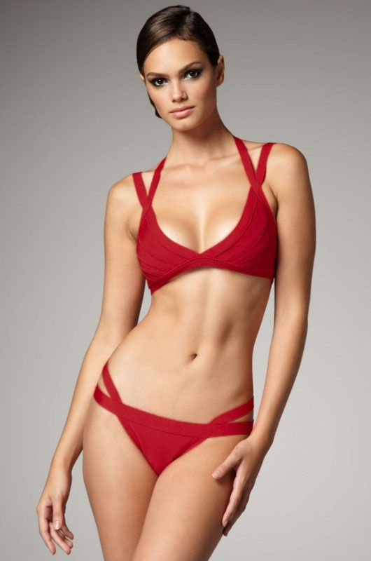 High-waisted V-Neck  Bandage Bikini Swimwear AU$95