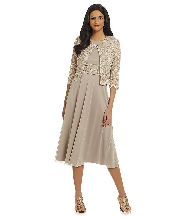 Jessica Howard Scalloped Lace Jacket Dress