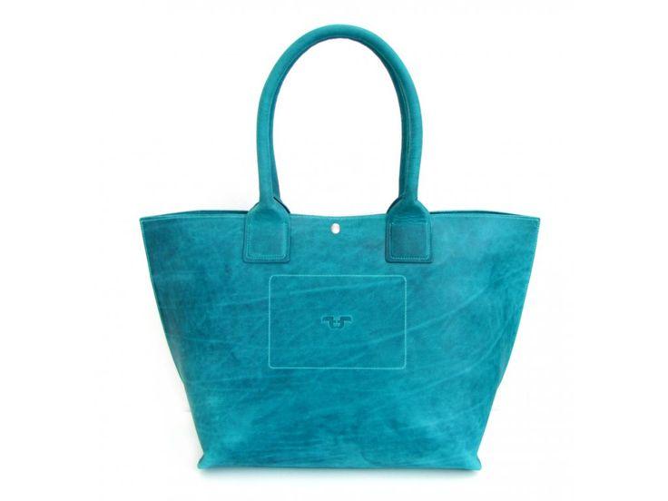 Tote Bag big z kůže pull-up, odstín turchese - zapínání na druk