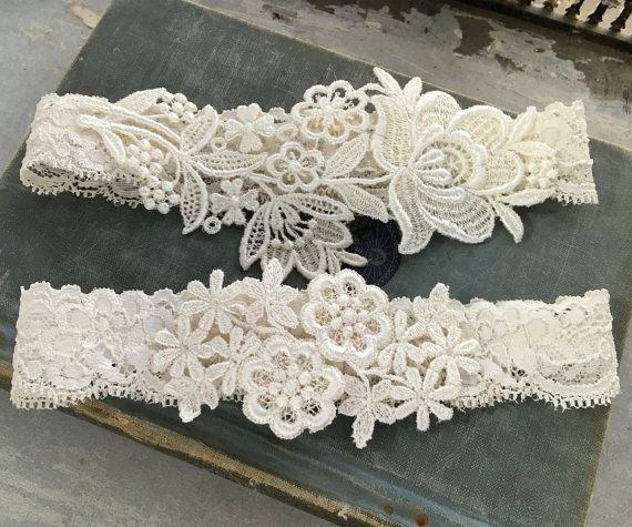 Simply elegant lace garter set; available in ivory or white. A toss garter is included. HOW LONG WILL IT TAKE? Each one is lovingly made to
