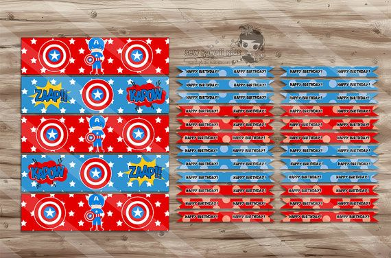 Captain America Birthday Water Bottle Wraps & Straw Flags, Captain America Birthday, Party Supplies - Digital JPG Files, INSTANT DOWNLOAD on Etsy, $2.00