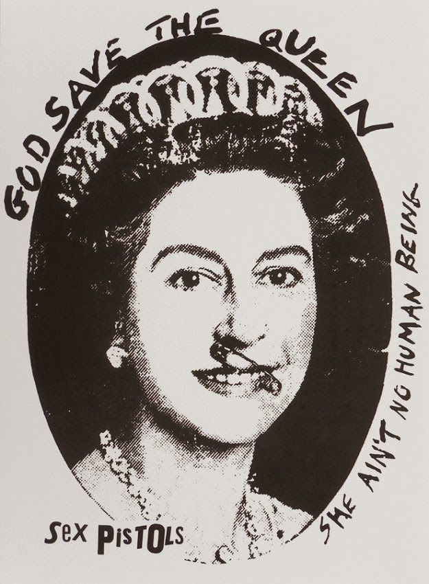"""""""God Save The Queen"""" (based on a Cecil Beaton photograph of Queen Elizabeth II, with an added safety pin through her nose and swastikas in her eyes, described by Sean O'Hagan of The Observer as """"the single most iconic image of the punk era"""")"""