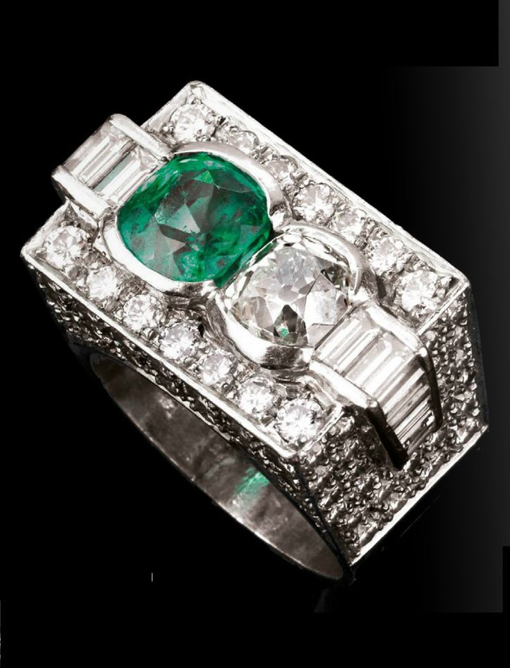 BULGARI - AN ART DECO PLATINUM, DIAMOND AND EMERALD RING, CIRCA 1920. With maker's mark for Bulgari. #Bulgari #Bvlgari #ArtDeco #ring