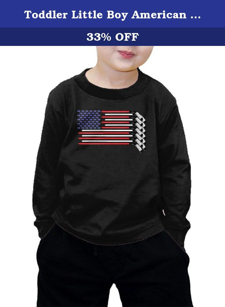 Toddler Little Boy American Flag Made with Hockey Sticks and Puck Long Sleeve T-shirt ( 5/6, BLACK). To preserve quality, we advise to wash it inside out in cold water.
