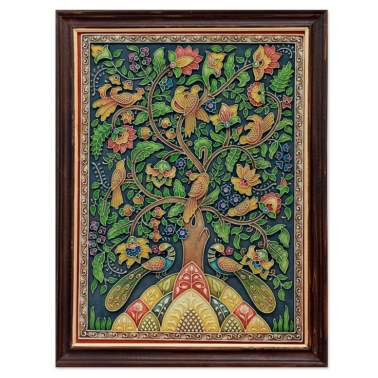 Relief Panel, 'Tree of Life II' Shweta paints the idyllic images with oils over images in relief crafted with marble dust.