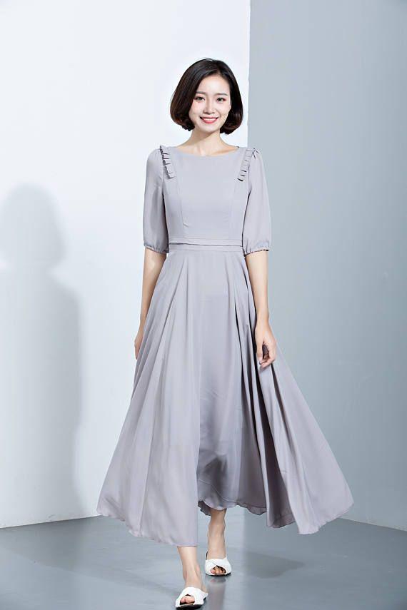 Gray Chiffon DressElbow Length Sleeves DressFlare
