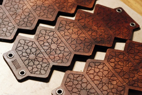Geometric cuffs freshly dyed with washed mahogany finish ready for assembling @ the atelier.