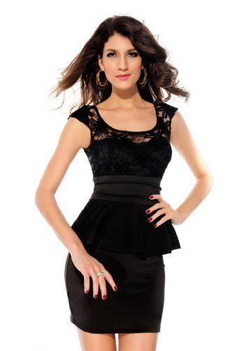 Dear-lover Women's Sunflower Lace Cut-out Back Peplum Dress