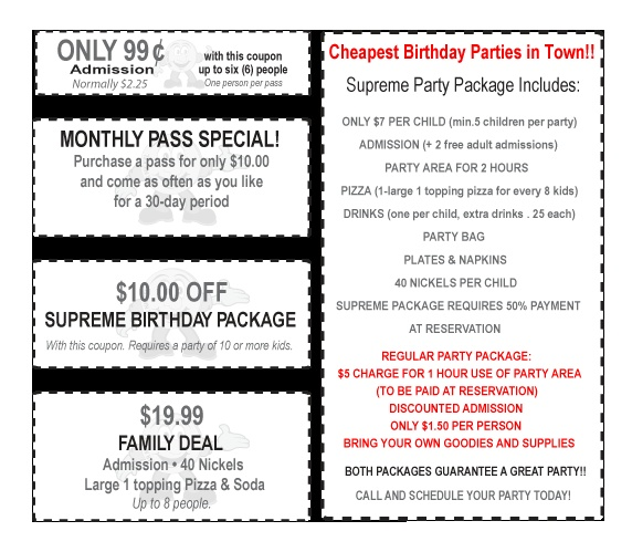 Nickelmania Cheap Birthday Party Family Fun Party Packages