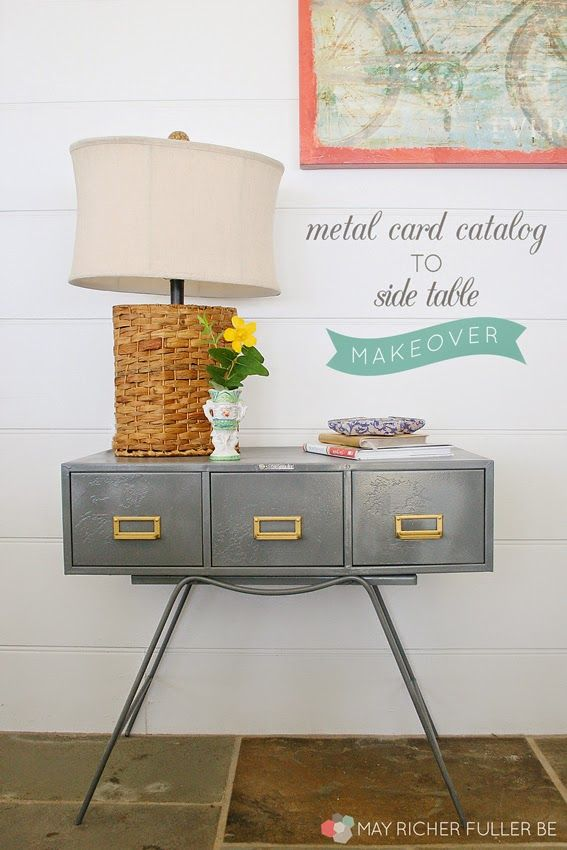How I turned a rusty metal card catalog into a side table with a fresh coat of paint and a new base!