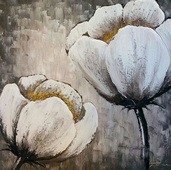 "Sold!! Original Textured Flower Abstract Contemporary abstract Arcrylic Painting on canvas. ""White flowers 4"""