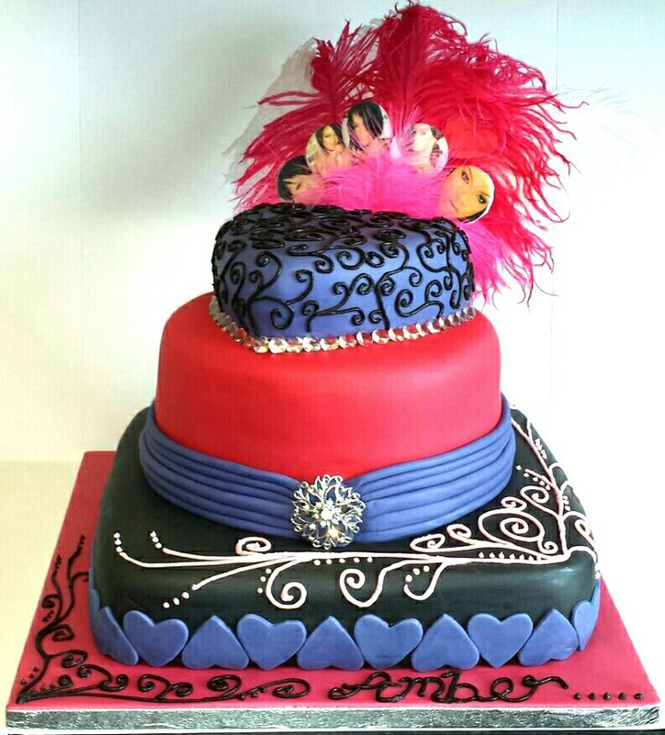 My own design. Black, pink, purple, feathers, bling and Rihanna 3 tier cake.