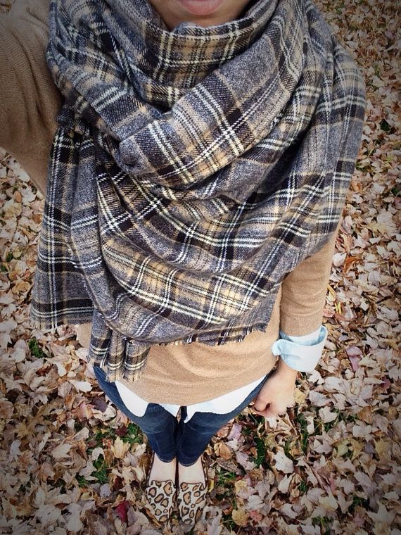 Grey and Tan Tartan Blanket Scarf by The Providence Story