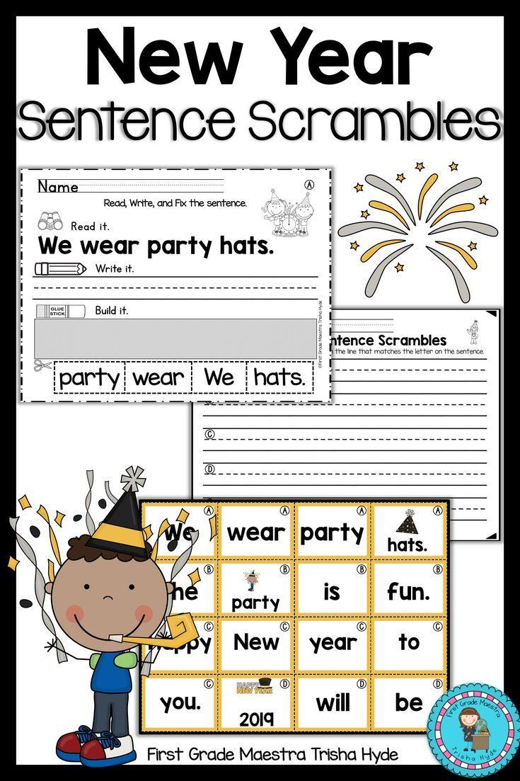 New Years 2021 Sentence Scrambles Kindergarten Worksheets Free Kindergarten Worksheets Sentence Scramble [ 1103 x 735 Pixel ]