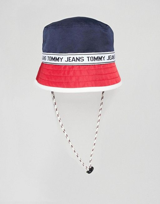 1060e3abdaa Tommy Jeans Bucket Hat With Logo Tape in 2019
