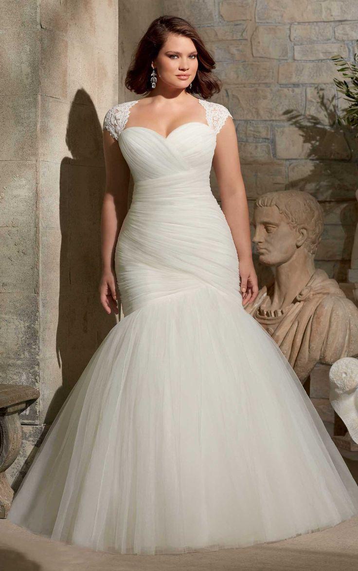 Mermaid Empire Sweetheart Mesh Floor-length Plus Size Wedding Dress