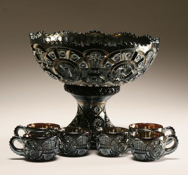 Black carnival glass punch bowl and cups