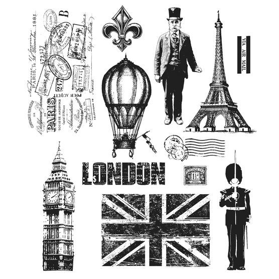 Stampers Anonymous Tim Holtz Cling Rubber Stamp Set Paris To London