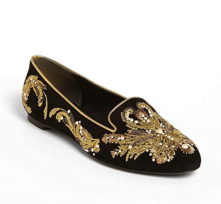 Velvet Sequin and Embroidered Acorn Slippers