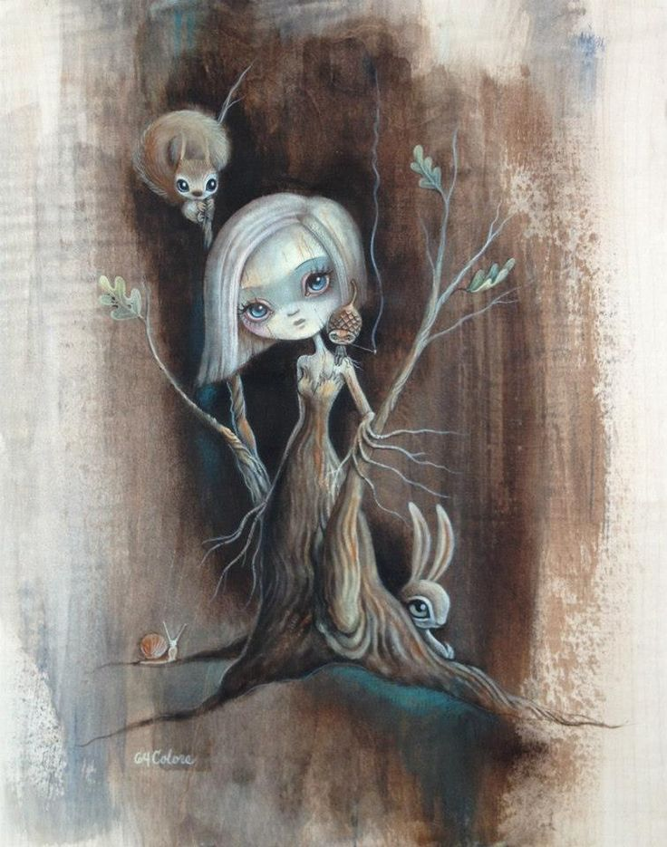 """Tree Girl Study 6 Acrylic on 11 x 14"""" Maple board by 64 Colors. http://www.64colors.com"""