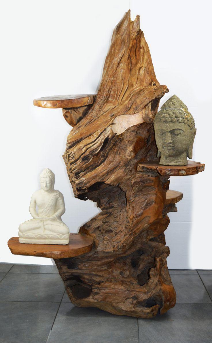 Sculpture Arbre 224 Chat En Bois De Teck Avec Plusieurs Plateaux Arbre 224 Chat En Bois