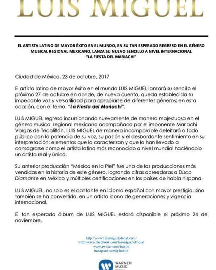 Luis Miguel vuelve con La Fiesta del Mariachi para deleitarnos con su potente voz.   Comunicado de Prensa - Warner Music - Tengo Todo Excepto A Ti, Fan club oficial Argentino desde 1990