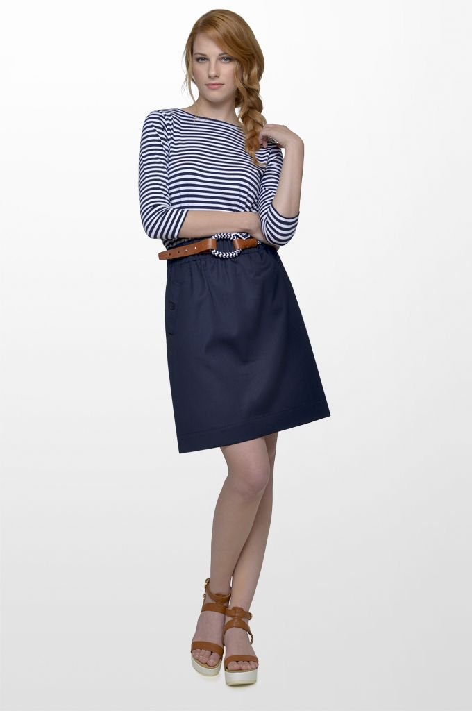 Sarah Lawrence - striped dress with combination of two fabrics, rope belt with leather details.
