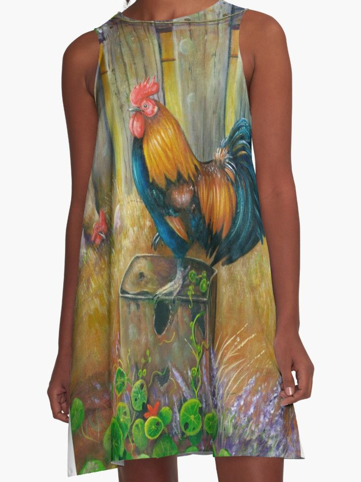 """""""LITTLE RED ROOSTER"""" A-Line Dresses by opointonartist 