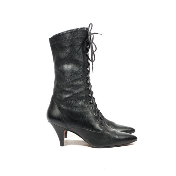 L J Simone Black Leather Witch Boots Mid Calf Lace Up