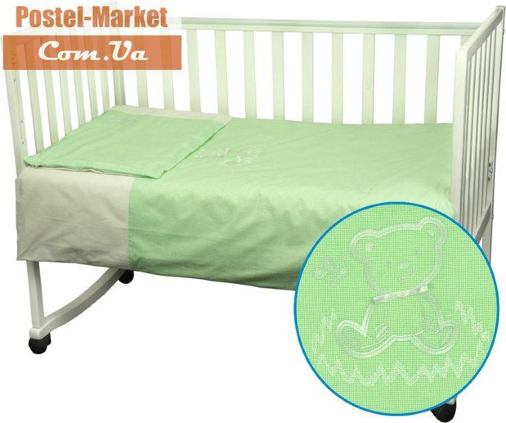 Постельное белье Ведмедик Руно миткаль в кроватку зеленое купить в интернет магазине Постель Маркет (Киев, Украина)