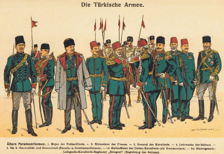 Old parade uniforms:  1: Major of Field Artillery;  2: Captain of Light Cavalry;  3: General of Cavalry;  4: Sultan's Guardsman;  5-9: Generals and General Staff;  10: Staff Officer of Line Cavalry;  background: Ertuğrul Cavalry Regiment of the Imperial Guard