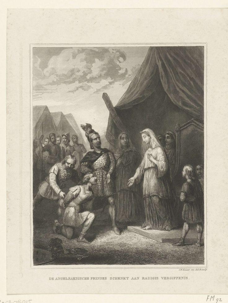 Johann Wilhelm Kaiser (I) | Radagijs, koning van Warmond, wordt door zijn Angelsaksische bruid vergeven, 534, Johann Wilhelm Kaiser (I), 1838 - 1840 | Zijn Angelsaksische bruid schenkt Radagijs, koning van Warmond, in het jaar 534 vergiffenis na hem met haar legers te hebben verslagen.