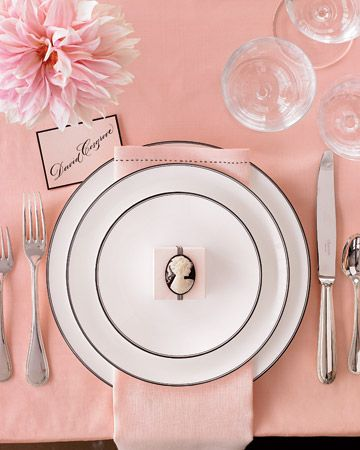 Event Ideas | A richly elegant pink table, complete with a lovely little cameo on each place setting. #table #pink #wedding #cameo #table #party #entertaining