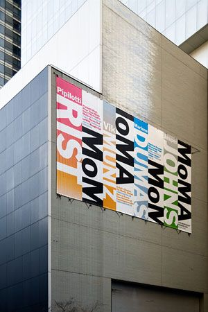 TYPO London 2012 speaker: http://typotalks.com/london/2012/speakers/ Paula Scher – Banner on the façade of MoMA's Taniguchi expansion. The system is designed to work at any scale.