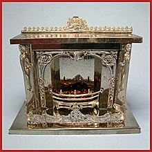 "Antique German Doll House Miniature Nickel-Plated Fireplace Late Victorian 1"" Scale Dollhouse Furniture"