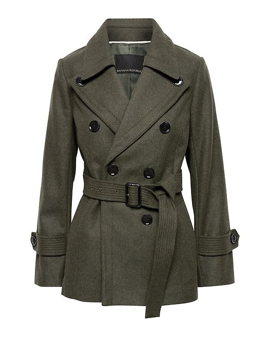 518a84358141 Italian Melton Wool Blend Trench Coat