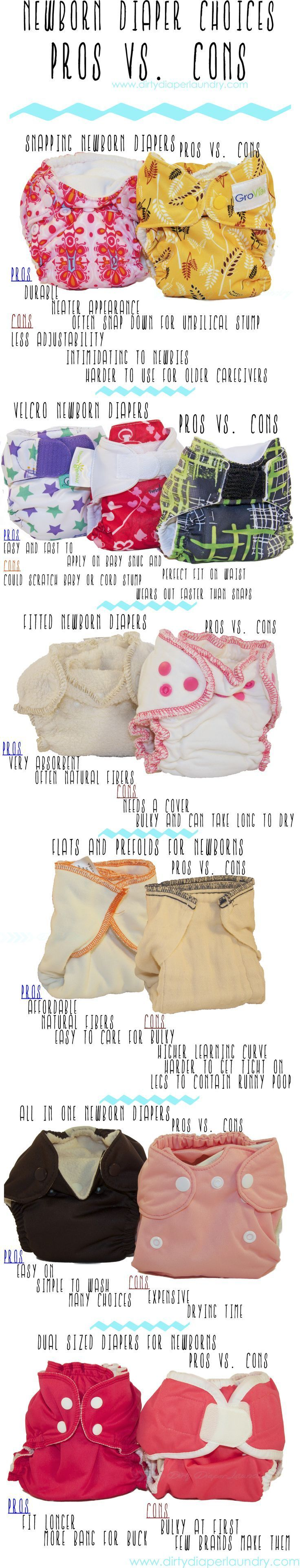 Newborn Cloth Diapering: the Pros vs. Cons of each type of cloth diaper. More, including informative video on the basics of newborn cloth diapering, on Dirty Diaper Laundry.