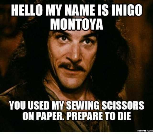 HELLO MY NAME IS INIGO MONTOYA YOU USED MY SEWING SCISSORS ON PAPER. PREPARE TO DIE memes.com