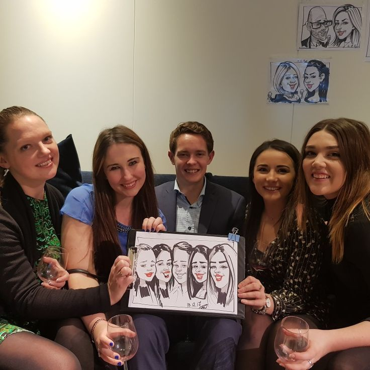 Caricature on a wine tasting party