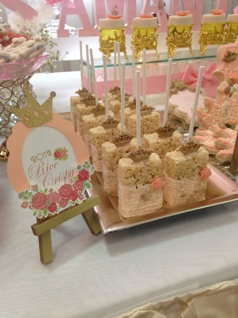 Royal rice krispie treats at a Pink Princess girl birthday party!  See more party ideas at CatchMyParty.com!