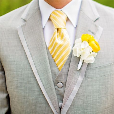 Grey suit, yellow striped tie, White and Yellow Boutonniere