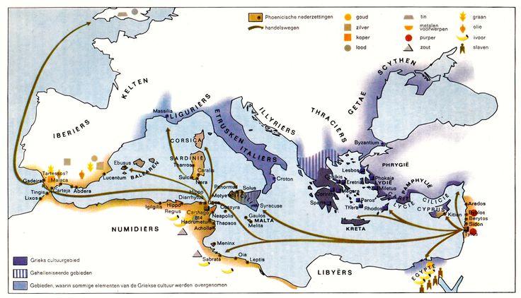 Kolonisatie van de Feniciërs. (539 v. Chr. - 133 n. Chr.) Bron: Sesam Atlas bij de wereldgeschiedenis I (Baarn, 1965)