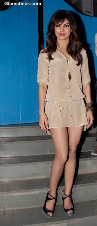 Priyanka Chopra Cute & Sexy in Beige Shirt Dress
